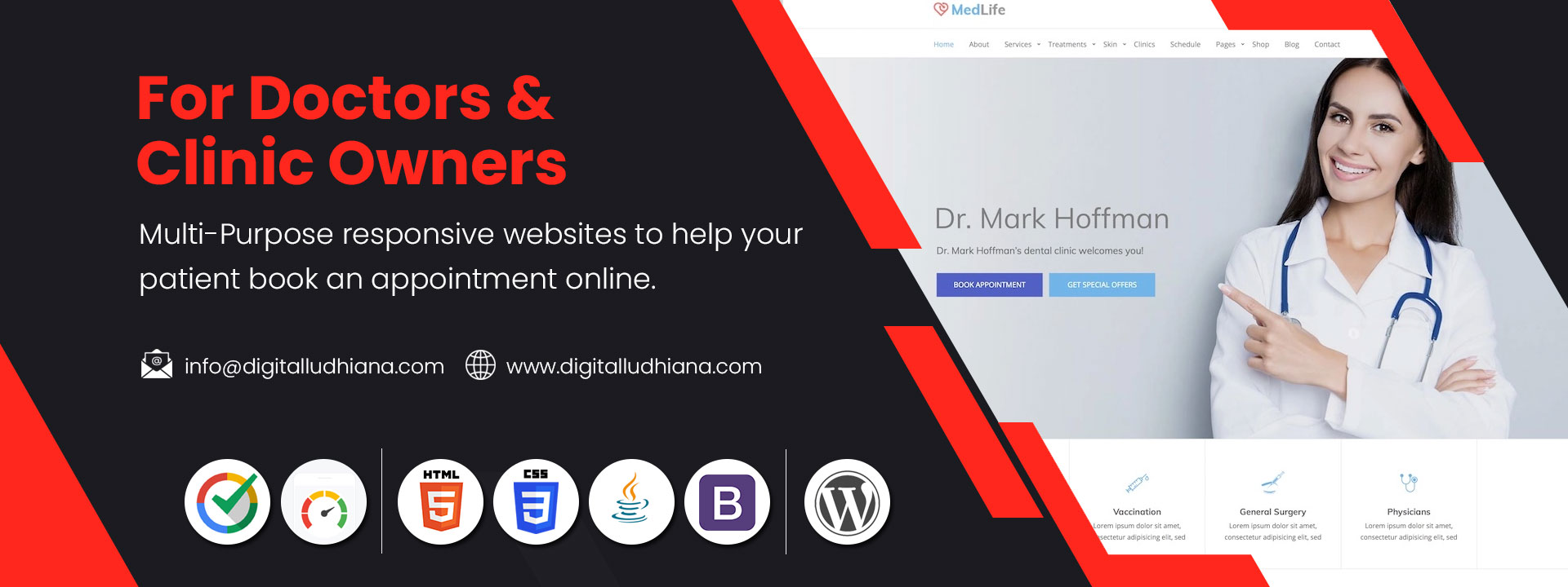 doctor clinic owners appointment booking website development ludhiana