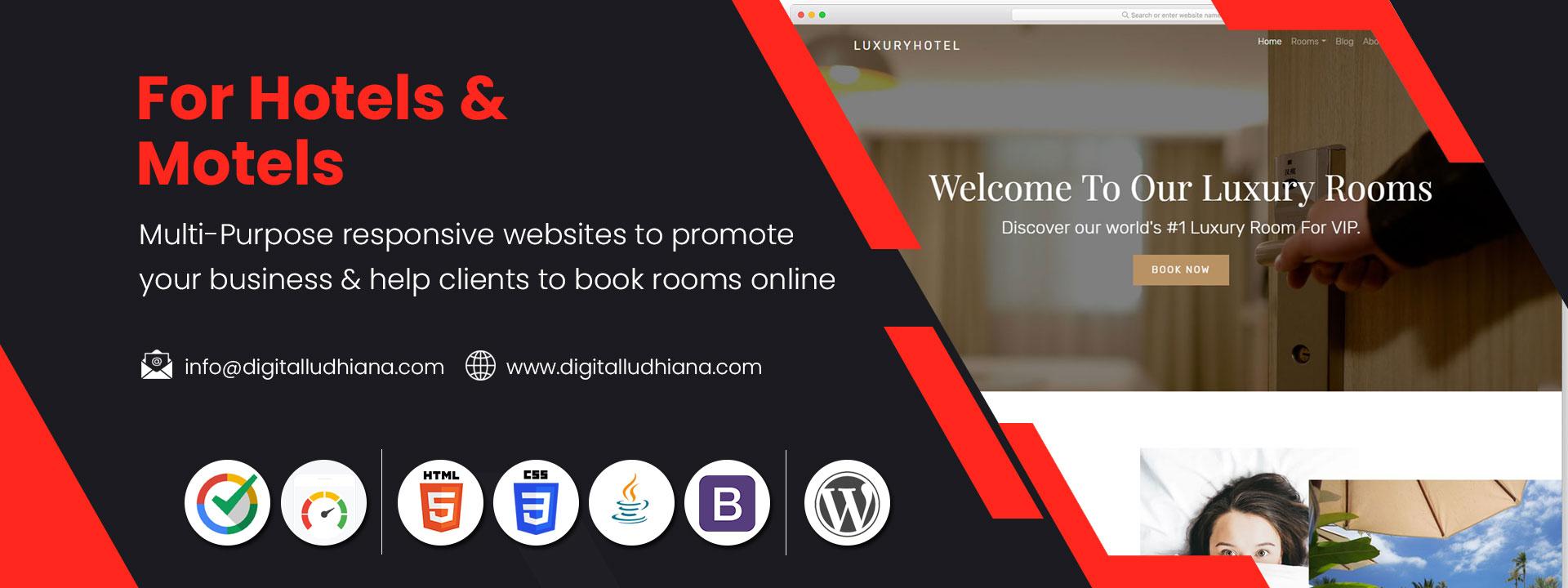 hotel motel website designing company in ludhiana punjab india